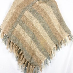 Boho tan and cream stripe Mohair and wool poncho